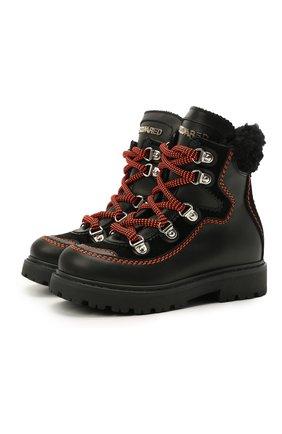 Детские кожаные ботинки DSQUARED2 черного цвета, арт. 68591/GAUCH0/GAUCH0/KALEID0/GAUCH0/18-27 | Фото 1