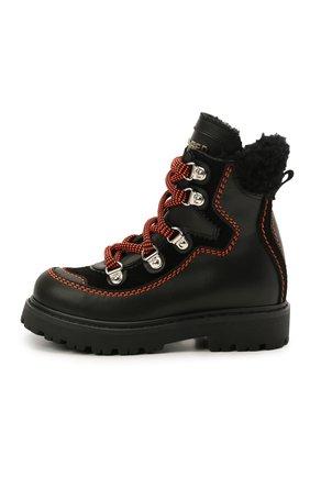 Детские кожаные ботинки DSQUARED2 черного цвета, арт. 68591/GAUCH0/GAUCH0/KALEID0/GAUCH0/18-27 | Фото 2
