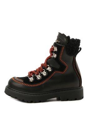Детские кожаные ботинки DSQUARED2 черного цвета, арт. 68591/GAUCH0/GAUCH0/KALEID0/GAUCH0/28-35 | Фото 2