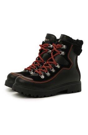 Детские кожаные ботинки DSQUARED2 черного цвета, арт. 68591/GAUCH0/GAUCH0/KALEID0/GAUCH0/36-41 | Фото 1