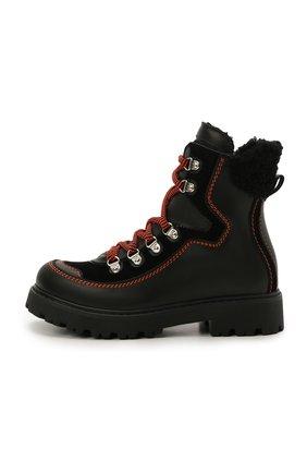 Детские кожаные ботинки DSQUARED2 черного цвета, арт. 68591/GAUCH0/GAUCH0/KALEID0/GAUCH0/36-41 | Фото 2