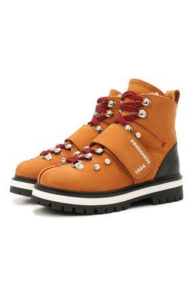 Детские кожаные ботинки DSQUARED2 коричневого цвета, арт. 68594/M0RBID0NE/M0RBID0NE/RUNNER/M0RBID0NE/28-35   Фото 1 (Материал утеплителя: Натуральный мех)
