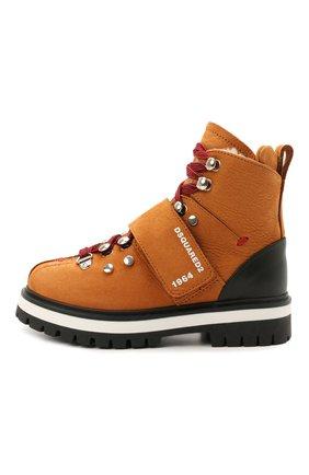 Детские кожаные ботинки DSQUARED2 коричневого цвета, арт. 68594/M0RBID0NE/M0RBID0NE/RUNNER/M0RBID0NE/28-35   Фото 2 (Материал утеплителя: Натуральный мех)