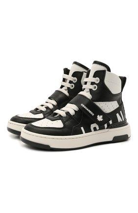 Детские высокие кожаные кроссовки DSQUARED2 черно-белого цвета, арт. 68667/KIPS/KIPS/KIPS/KIPS/18-27   Фото 1