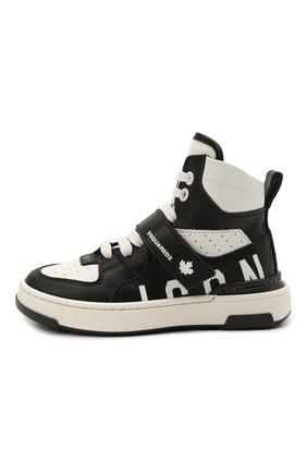 Детские высокие кожаные кроссовки DSQUARED2 черно-белого цвета, арт. 68667/KIPS/KIPS/KIPS/KIPS/18-27   Фото 2