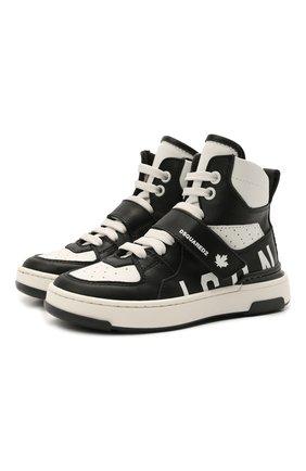 Детские высокие кожаные кроссовки DSQUARED2 черно-белого цвета, арт. 68667/KIPS/KIPS/KIPS/KIPS/28-35 | Фото 1