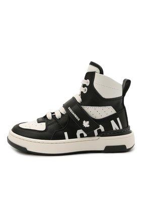 Детские высокие кожаные кроссовки DSQUARED2 черно-белого цвета, арт. 68667/KIPS/KIPS/KIPS/KIPS/28-35 | Фото 2