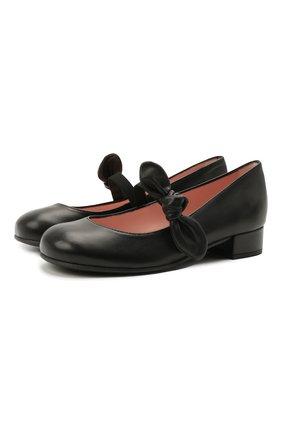 Детские кожаные туфли PRETTY BALLERINAS черного цвета, арт. 49.118/C0T0N | Фото 1
