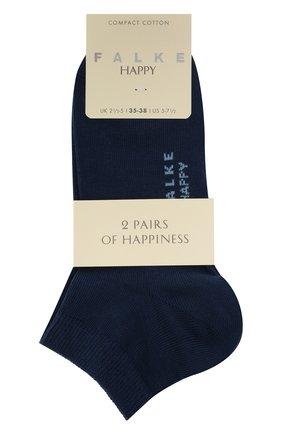Женские комплект из двух пар носков FALKE синего цвета, арт. 46418 (2 шт) | Фото 1 (Материал внешний: Хлопок)