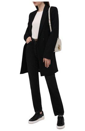 Женские кожаные кеды b-court BALMAIN черно-белого цвета, арт. VN0VI580/LSCL | Фото 2