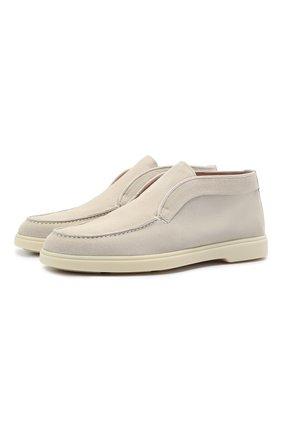 Женские замшевые ботинки SANTONI светло-бежевого цвета, арт. WUYA58458TISNPYLI30 | Фото 1