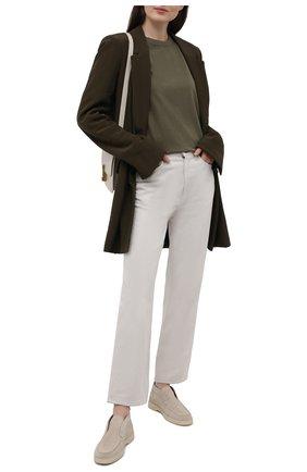 Женские замшевые ботинки SANTONI светло-бежевого цвета, арт. WUYA58458TISNPYLI30 | Фото 2