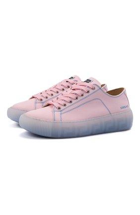 Женские текстильные кеды VERSACE розового цвета, арт. DST644D/DTE10G | Фото 1