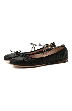 Женские кожаные балетки MIU MIU черного цвета, арт. 5F916C/038 | Фото 1 (Каблук высота: Низкий; Материал внутренний: Натуральная кожа; Подошва: Плоская)