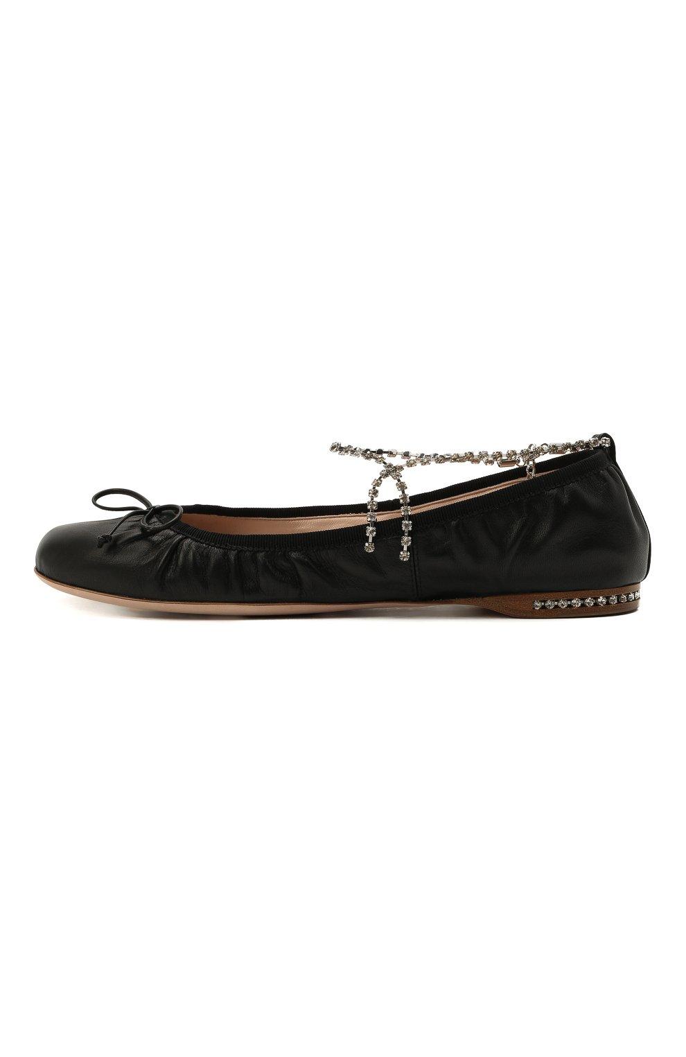 Женские кожаные балетки MIU MIU черного цвета, арт. 5F916C/038 | Фото 3 (Каблук высота: Низкий; Материал внутренний: Натуральная кожа; Подошва: Плоская)