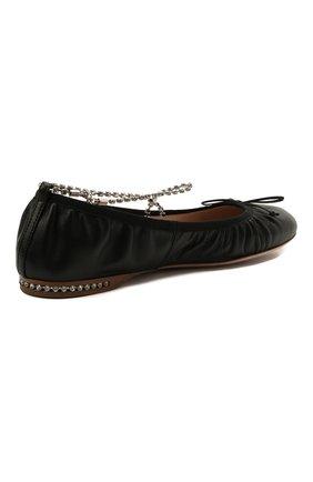 Женские кожаные балетки MIU MIU черного цвета, арт. 5F916C/038 | Фото 4 (Каблук высота: Низкий; Материал внутренний: Натуральная кожа; Подошва: Плоская)