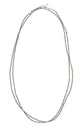 Женское колье BRUNELLO CUCINELLI коричневого цвета, арт. MB0W9LB56P/M   Фото 1