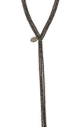 Женское колье BRUNELLO CUCINELLI черного цвета, арт. MC0W9LS60P/M   Фото 2