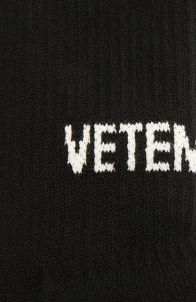 Женские хлопковые носки VETEMENTS черного цвета, арт. UA52S0200B 2906/W | Фото 2