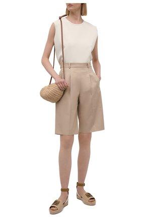 Женские текстильные сандалии LOEWE бежевого цвета, арт. L616283X10 | Фото 2
