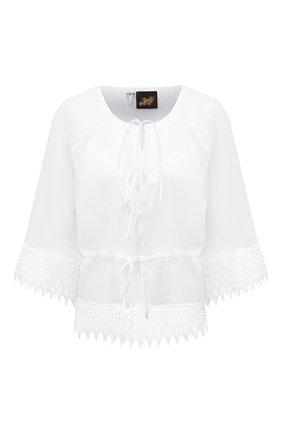 Женская хлопковая блузка loewe x paula's ibiza LOEWE белого цвета, арт. S616Y07X01 | Фото 1 (Рукава: 3/4; Материал внешний: Хлопок; Женское Кросс-КТ: Блуза-одежда; Принт: Без принта; Материал подклада: Вискоза; Длина (для топов): Стандартные; Стили: Бохо)