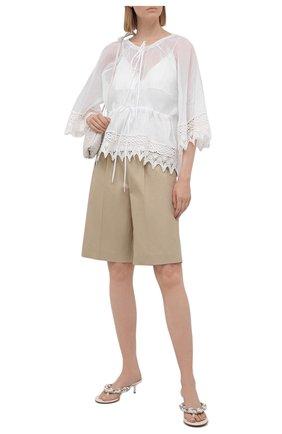 Женская хлопковая блузка loewe x paula's ibiza LOEWE белого цвета, арт. S616Y07X01 | Фото 2 (Рукава: 3/4; Материал внешний: Хлопок; Женское Кросс-КТ: Блуза-одежда; Принт: Без принта; Материал подклада: Вискоза; Длина (для топов): Стандартные; Стили: Бохо)