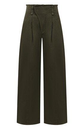 Женские хлопковые брюки CHLOÉ темно-зеленого цвета, арт. CHC21UDP51048   Фото 1 (Силуэт Ж (брюки и джинсы): Широкие; Длина (брюки, джинсы): Стандартные; Материал внешний: Хлопок; Женское Кросс-КТ: Брюки-одежда; Стили: Кэжуэл)