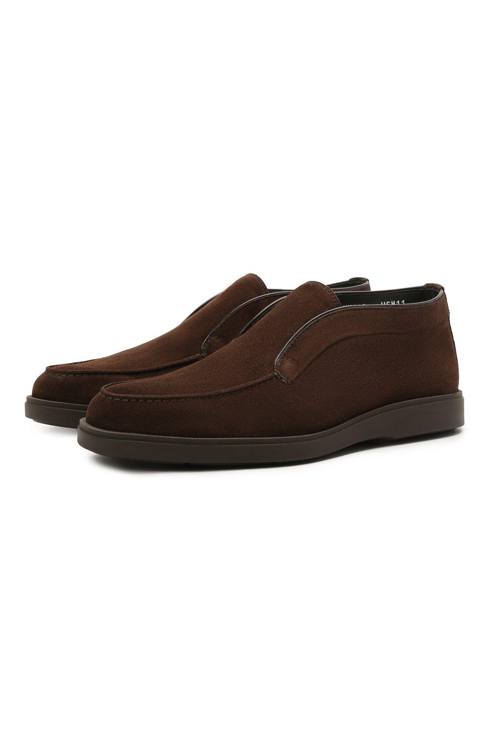 Мужские замшевые ботинки SANTONI темно-коричневого цвета, арт. MGDG17823DATASVUT50 | Фото 1 (Мужское Кросс-КТ: Ботинки-обувь; Подошва: Плоская)