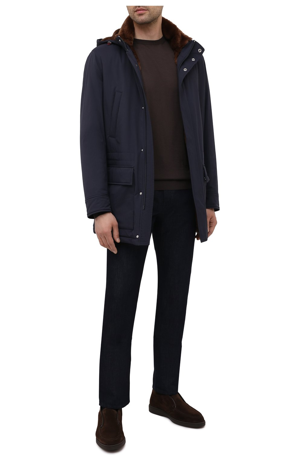 Мужские замшевые ботинки SANTONI темно-коричневого цвета, арт. MGDG17823DATASVUT50 | Фото 2 (Мужское Кросс-КТ: Ботинки-обувь; Подошва: Плоская)
