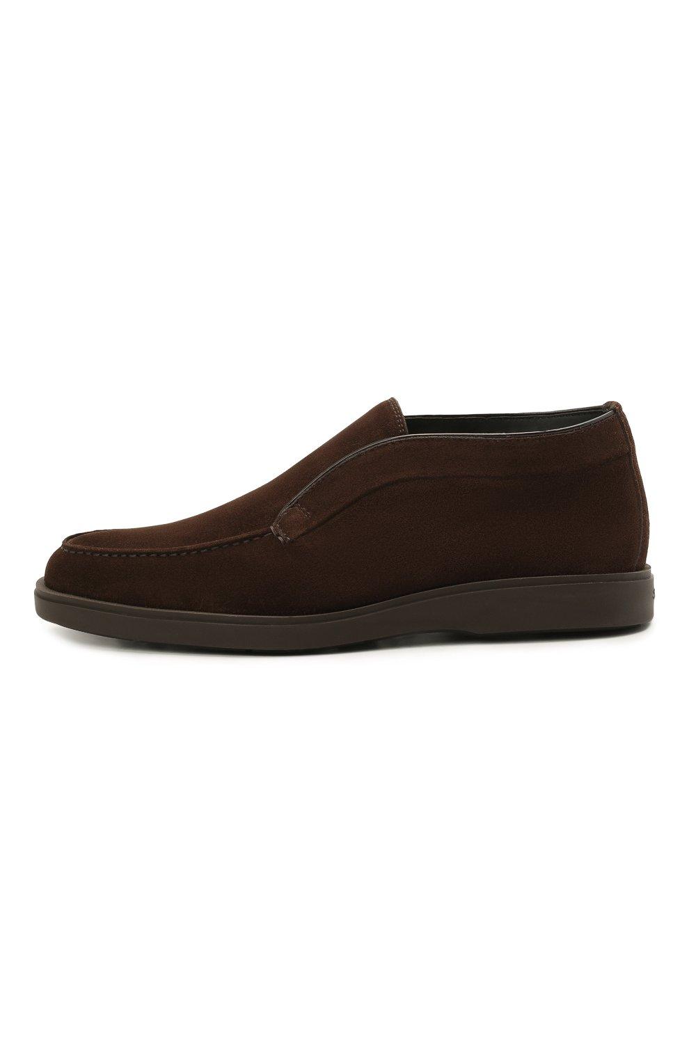 Мужские замшевые ботинки SANTONI темно-коричневого цвета, арт. MGDG17823DATASVUT50 | Фото 3 (Мужское Кросс-КТ: Ботинки-обувь; Подошва: Плоская)