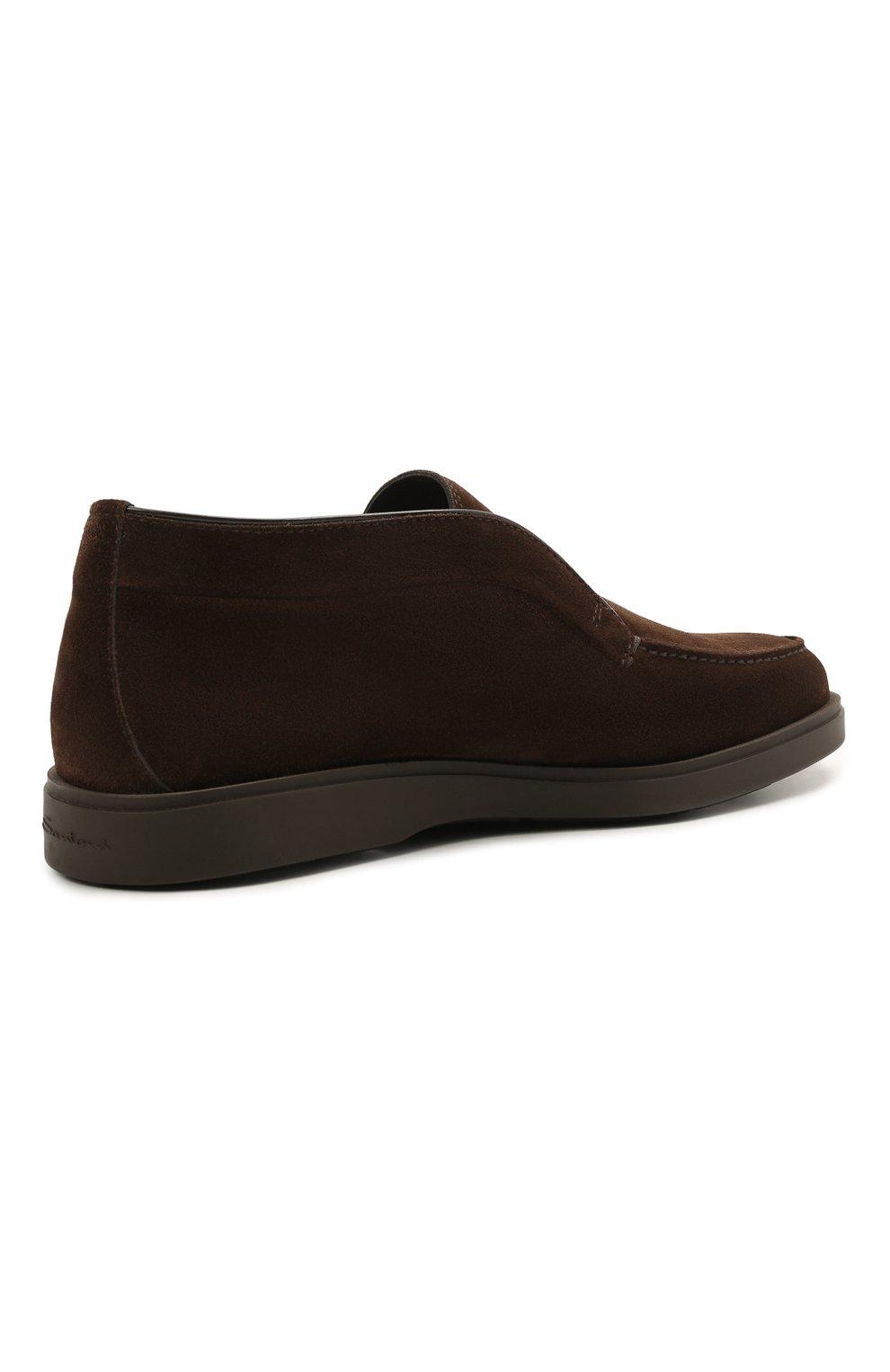 Мужские замшевые ботинки SANTONI темно-коричневого цвета, арт. MGDG17823DATASVUT50 | Фото 4 (Мужское Кросс-КТ: Ботинки-обувь; Подошва: Плоская)