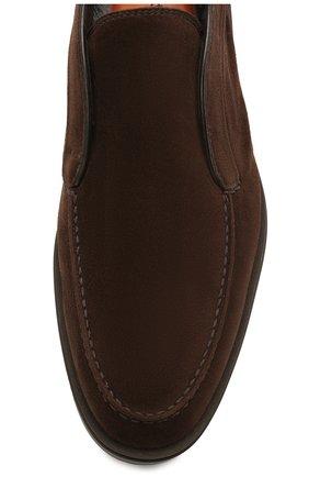 Мужские замшевые ботинки SANTONI темно-коричневого цвета, арт. MGDG17823DATASVUT50 | Фото 5 (Мужское Кросс-КТ: Ботинки-обувь; Подошва: Плоская)