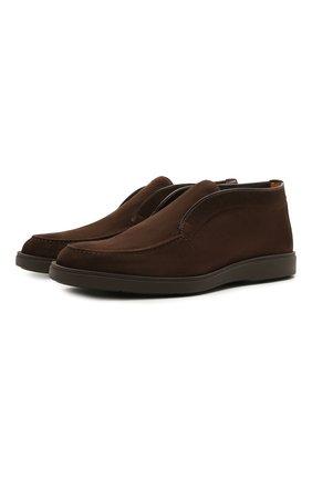 Мужские замшевые ботинки SANTONI темно-коричневого цвета, арт. MGDG17823DATKSVUT50   Фото 1