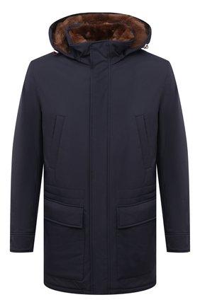 Мужская куртка с меховой подкладкой BRUNELLO CUCINELLI темно-синего цвета, арт. MM4596401 | Фото 1 (Кросс-КТ: Куртка; Рукава: Длинные; Материал внешний: Синтетический материал; Стили: Кэжуэл; Мужское Кросс-КТ: утепленные куртки; Материал утеплителя: Натуральный мех; Длина (верхняя одежда): До середины бедра)