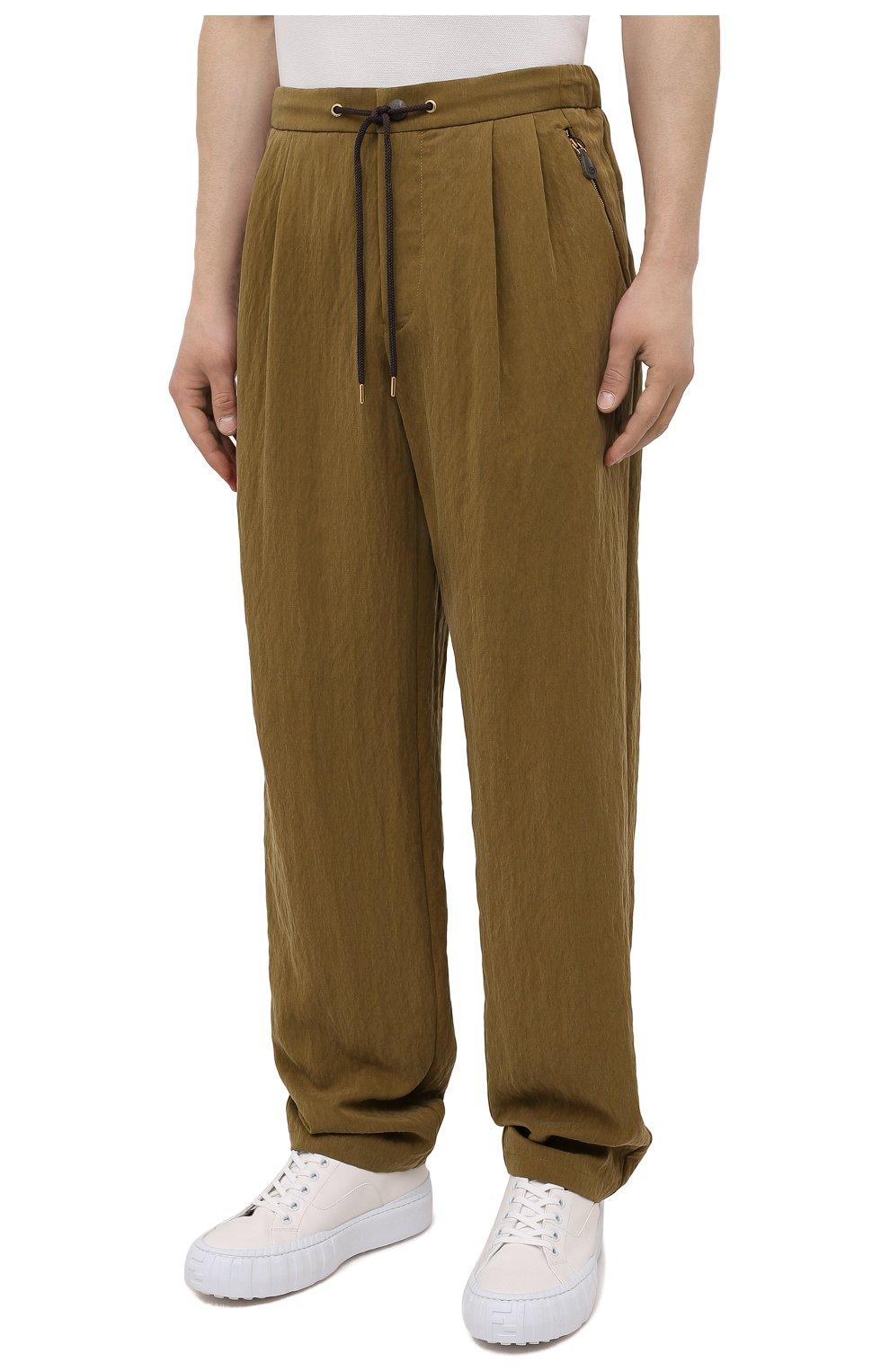 Мужские брюки GIORGIO ARMANI хаки цвета, арт. 1WGPP0JA/T02P0 | Фото 3