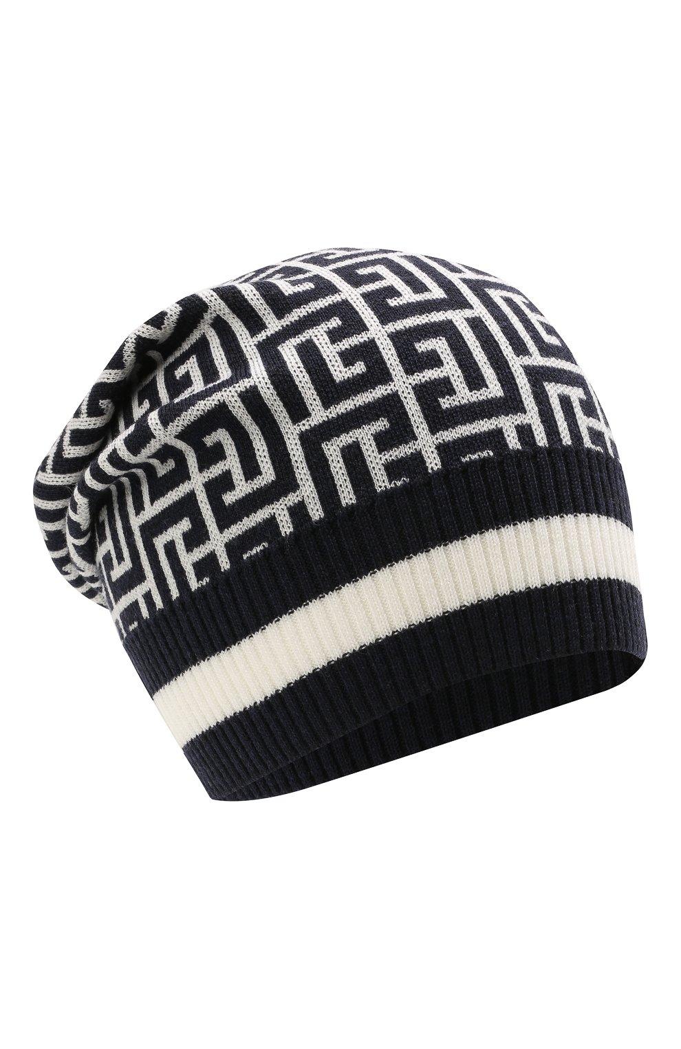 Мужская шерстяная шапка BALMAIN темно-синего цвета, арт. WH1XC000/K036   Фото 1 (Материал: Шерсть; Кросс-КТ: Трикотаж)