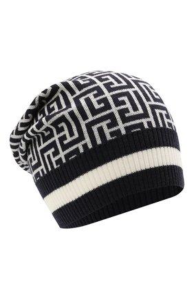 Мужская шерстяная шапка BALMAIN темно-синего цвета, арт. WH1XC000/K036 | Фото 1