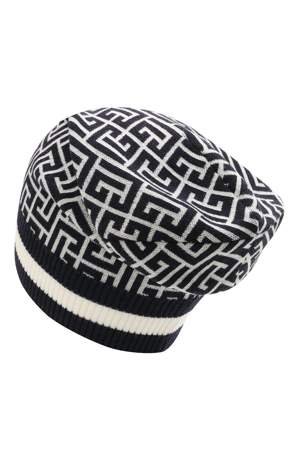 Мужская шерстяная шапка BALMAIN темно-синего цвета, арт. WH1XC000/K036   Фото 2 (Материал: Шерсть; Кросс-КТ: Трикотаж)