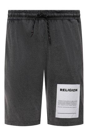 Мужские хлопковые шорты RELIGION темно-серого цвета, арт. 11TAPP77   Фото 1