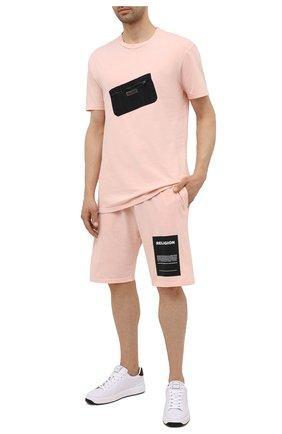 Мужские хлопковые шорты RELIGION розового цвета, арт. 11TAPP77   Фото 2