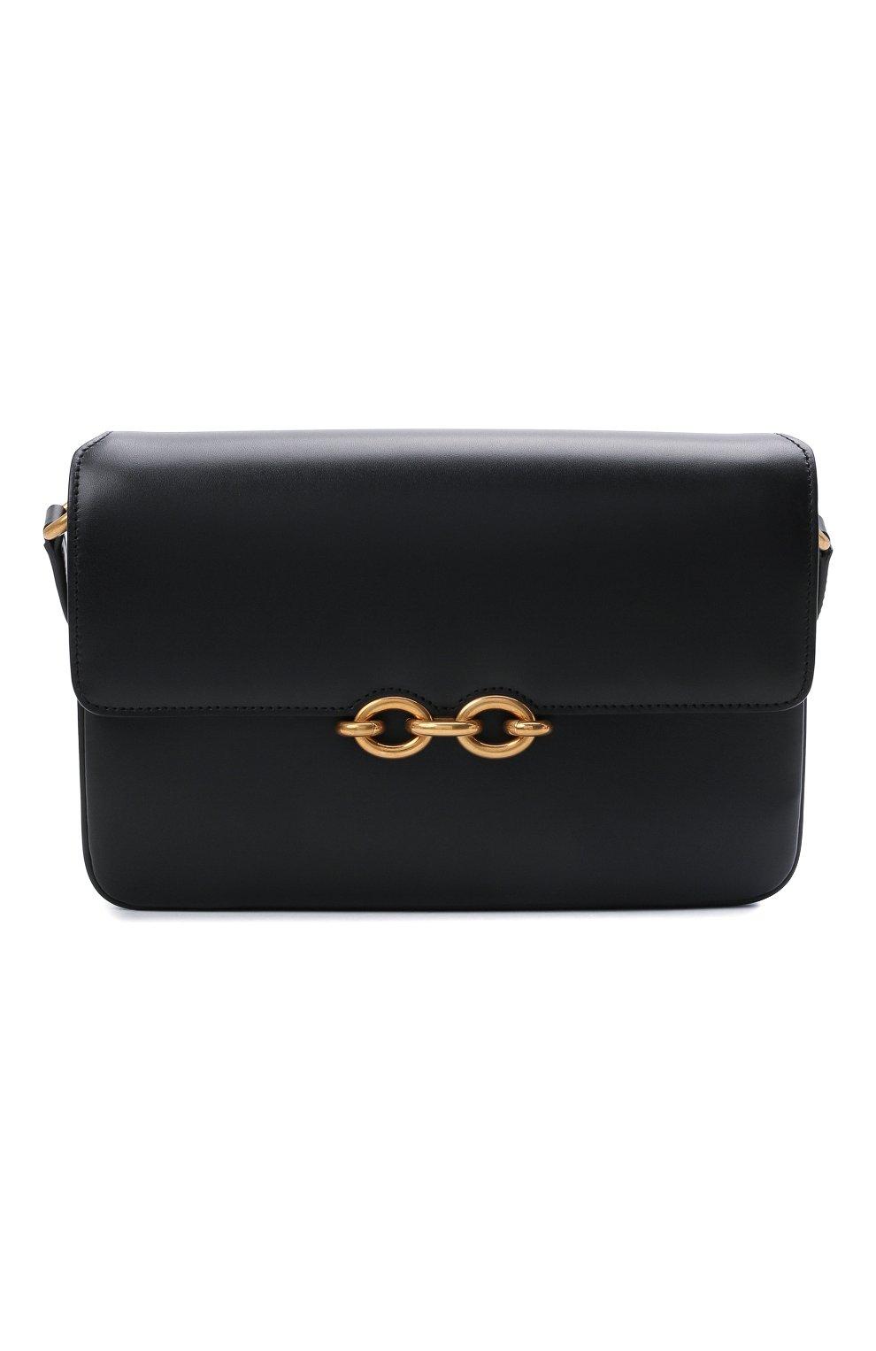 Женская сумка maillon SAINT LAURENT черного цвета, арт. 649795/2R20W | Фото 1 (Сумки-технические: Сумки через плечо; Материал: Натуральная кожа; Ремень/цепочка: На ремешке; Размер: small)