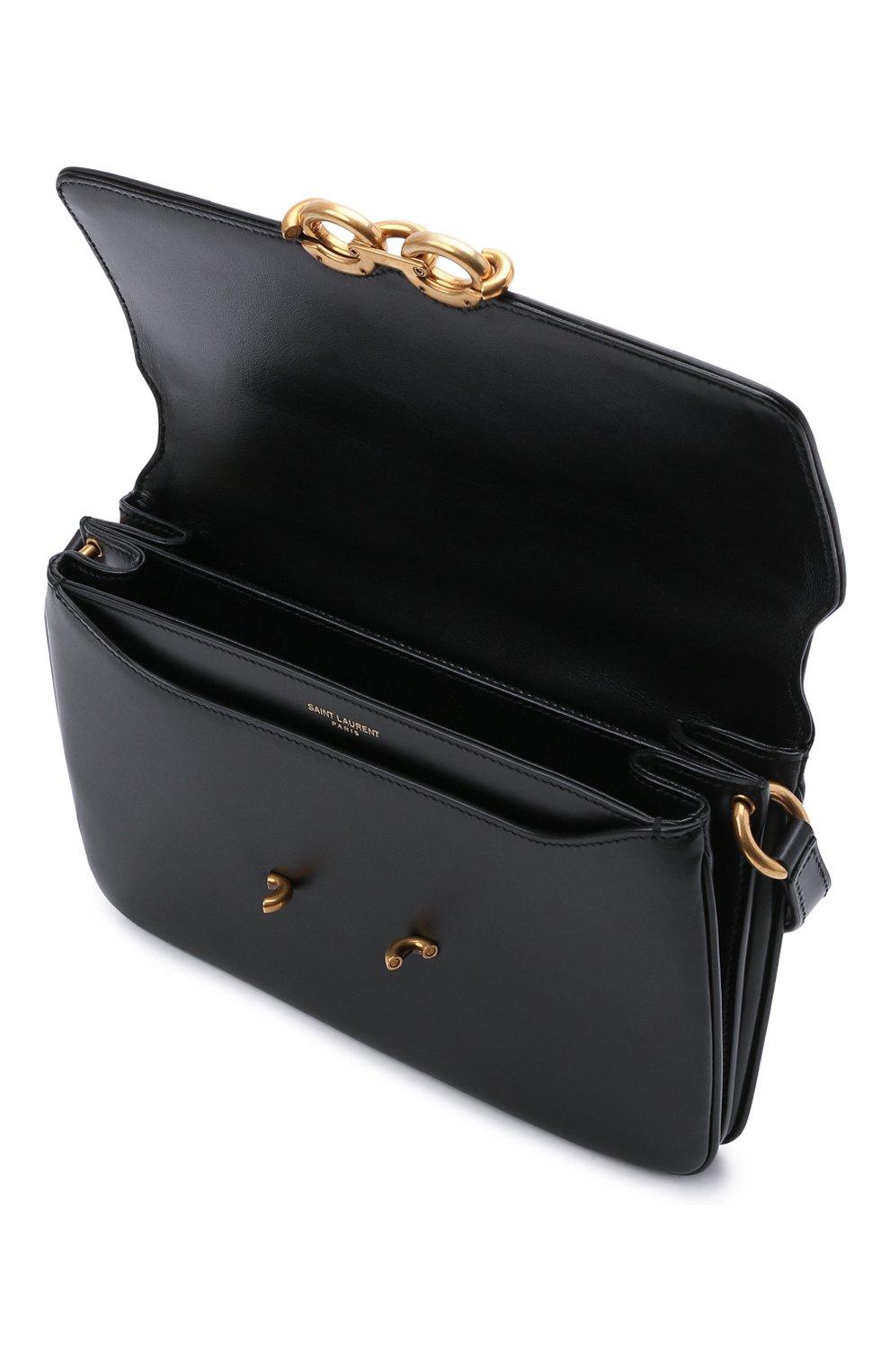 Женская сумка maillon SAINT LAURENT черного цвета, арт. 649795/2R20W | Фото 4 (Сумки-технические: Сумки через плечо; Материал: Натуральная кожа; Ремень/цепочка: На ремешке; Размер: small)