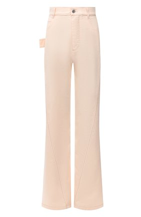 Женские хлопковые брюки BOTTEGA VENETA светло-розового цвета, арт. 654286/V0W30 | Фото 1