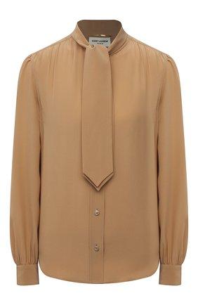 Женская шелковая блузка SAINT LAURENT бежевого цвета, арт. 650235/Y100W | Фото 1 (Женское Кросс-КТ: Блуза-одежда; Рукава: Длинные; Стили: Романтичный; Длина (для топов): Стандартные; Материал внешний: Шелк; Принт: Без принта)