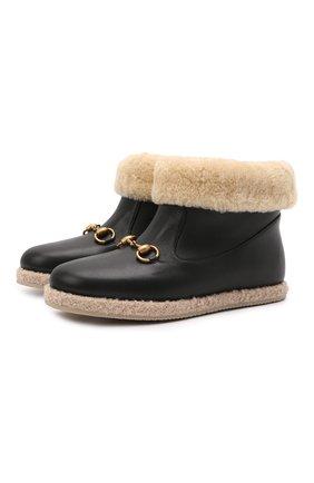 Женские кожаные сапоги GUCCI черного цвета, арт. 645753/17T40   Фото 1
