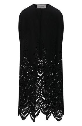 Женская накидка из шерсти и кашемира VALENTINO черного цвета, арт. WB3CG2B96GP | Фото 1 (Материал внешний: Шерсть; Стили: Романтичный)