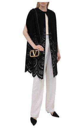 Женская накидка из шерсти и кашемира VALENTINO черного цвета, арт. WB3CG2B96GP | Фото 2 (Материал внешний: Шерсть; Стили: Романтичный)