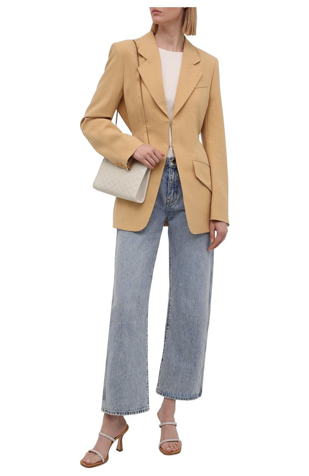 Женские кожаные мюли LOEWE серебряного цвета, арт. L616465X23 | Фото 2