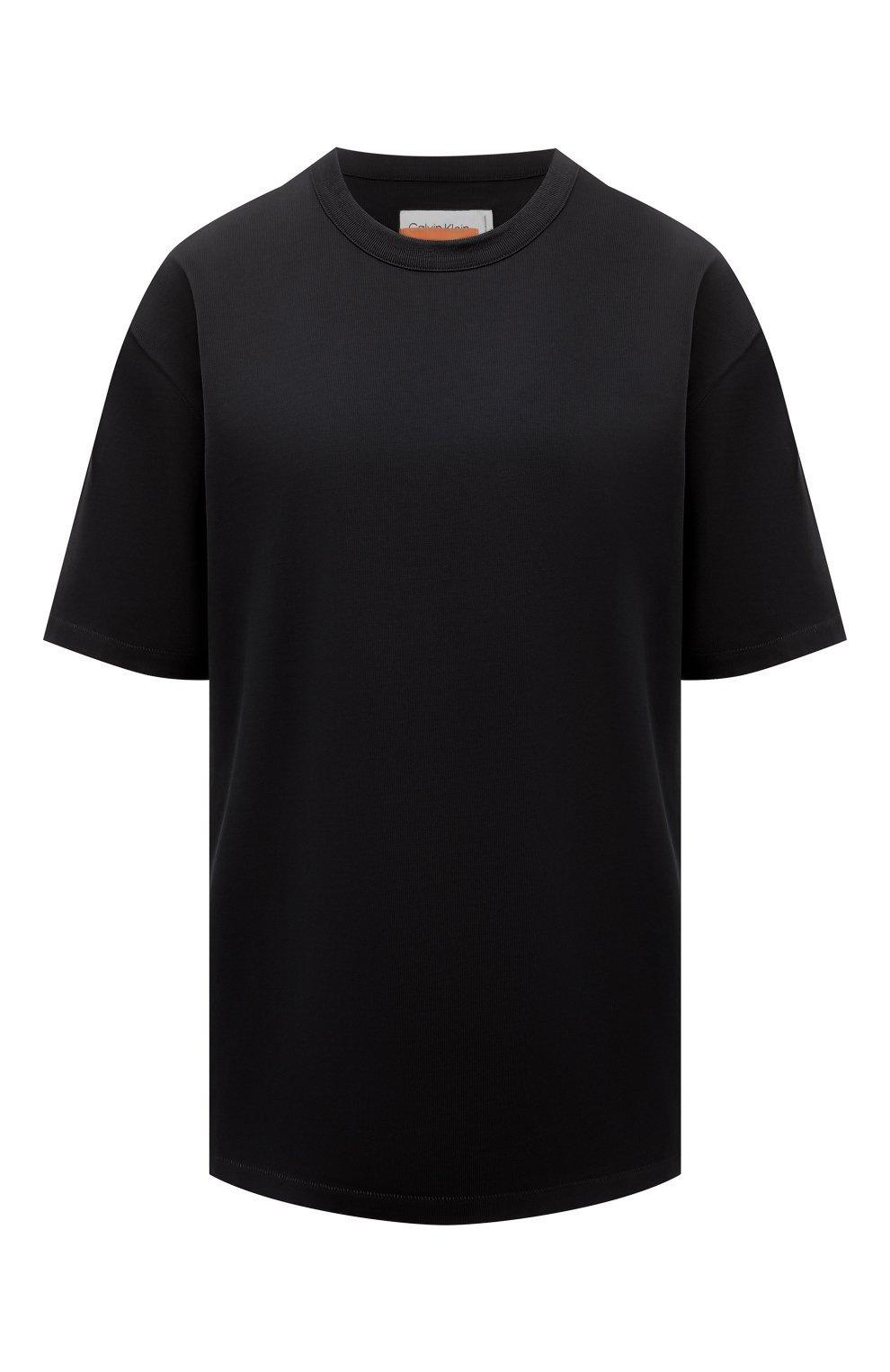 Женская хлопковая футболка HERON PRESTON FOR CALVIN KLEIN черного цвета, арт. K10K108252   Фото 1 (Женское Кросс-КТ: Футболка-спорт; Принт: Без принта; Рукава: Короткие; Длина (для топов): Стандартные; Материал внешний: Хлопок; Стили: Спорт-шик)