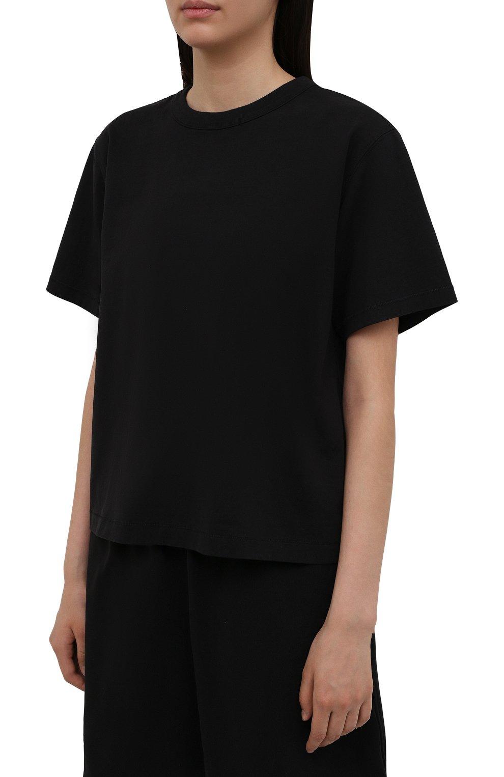 Женская хлопковая футболка HERON PRESTON FOR CALVIN KLEIN черного цвета, арт. K10K108252   Фото 3 (Женское Кросс-КТ: Футболка-спорт; Принт: Без принта; Рукава: Короткие; Длина (для топов): Стандартные; Материал внешний: Хлопок; Стили: Спорт-шик)